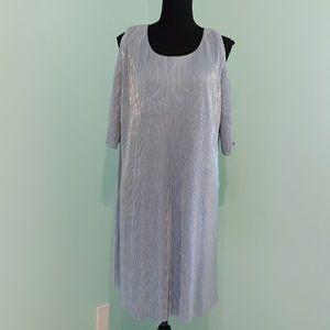 Cold shoulder metallic dress